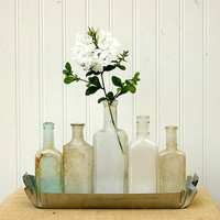 Antique Apothecary Bottle Collection In Tin by JennasBeachRetreat