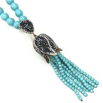 Tulip Tassel Beaded Necklace