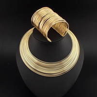 Women Multi Layer Metal Wire Necklace and Cuff Bracelet Set