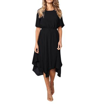 Summer Party Dress Women Clothes Elegant Solid Short Sleeve Casual Dresses Woman Party Night Sexy Dress Ladies Dresses