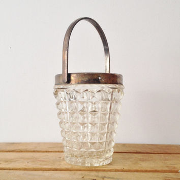 Vintage Ice Bucket - Pyramid Pressed Glass Pattern - Silver Trim - Handle
