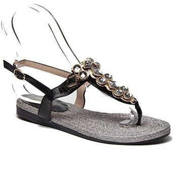 Women's Black Swan Jule-1 Metallic Crystal Embellished T-Strap Sandals