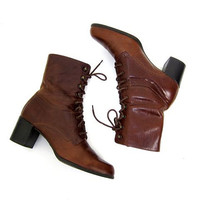 Vintage cognac brown leather boots 90s Tall lace up pippi boots Tie up Leather boots Fall Boho Preppy Boots High heel boots Womens 7.5