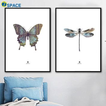 Butterfly Dragonfly Forest Wall Art Canvas Painting Posters And Prints Nordic Poster Wall Pictures For Living Room Quadro Decor