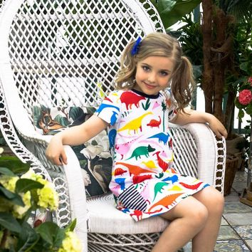 Toddler Dress Casual Cute Girls Summer Floral Dress Princess Unicorn Party Patterns Printed 100% Cotton Girls Dress Robe Fille
