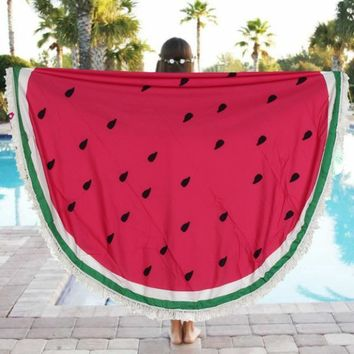 """I been drinking Watermelon"" Round Tassel Tapestry Beach throw"