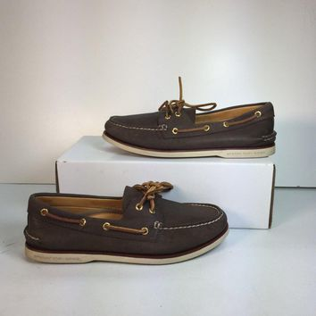 Sperry Men's Dark Brown Gold Cup Authentic Original Boat Shoe, Size 9.5 (Used)