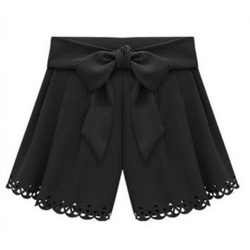 Women Summer Euro Style Ice Cream Casual Blends Butterfly Black Short Pants M/L@II0156b $14.59 only in eFexcity.com.