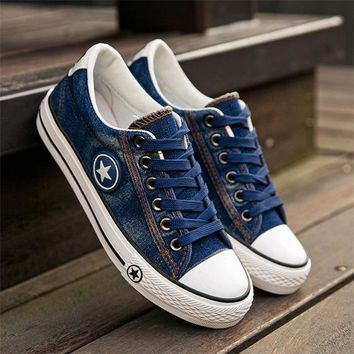 Women's Fashion Casual Breathable Blue Denim Lace Up Tennis Shoes With Star Motif