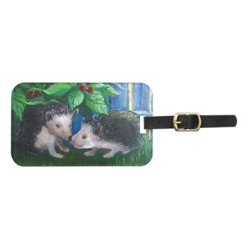 Hedgehogs in love oil painting luggage tag