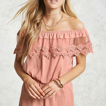 Crochet Off-the-Shoulder Romper