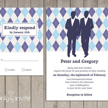 Gay Wedding Invitation and RSVP card set | Same Gender Wedding Invitations | Argyle Pattern | Groom and Groom