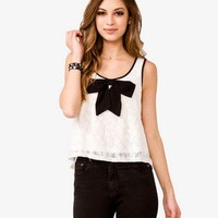 Contrast Bow Lace Tank