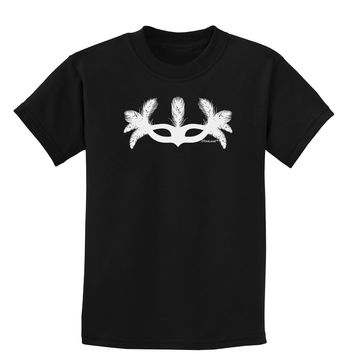 Masquerade Mask Silhouette Childrens Dark T-Shirt by TooLoud