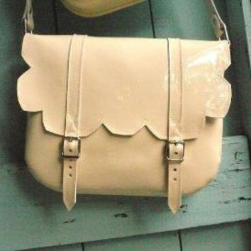 Cream Patent Leather Scallop Satchel FREE by frenchenglish on Etsy