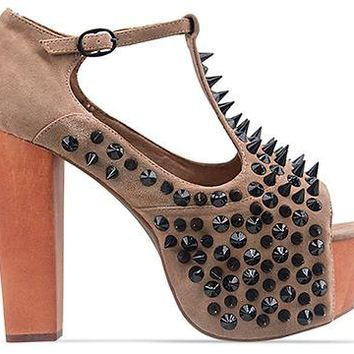 Jeffrey Campbell Foxy Front Spike in Nude Suede Black at Solestruck.com