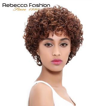Short Loose Curly Wigs For Black Women Peruvian Remy Bouncy Curly Human Hair Wig