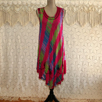 Hippie Boho Beach Dress Sleeveless Summer Bohemian Cover Up Batik Tie Dye Embroidered Rayon Medium Large Vintage Clothing Womens Clothing
