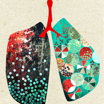 Lungs, human anatomy art, 16x20, graphic design, motivational poster, wall quote, turquoise art print, wall decor, giclee, illustration, art