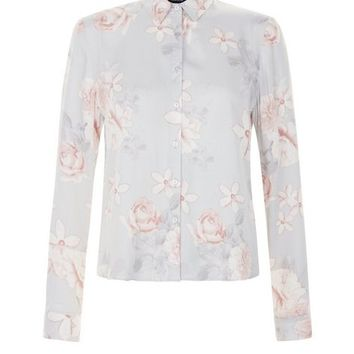 Grey Floral Print Boxy Long Sleeve Shirt