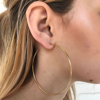 Kyra Oversized Hoop Earrings in Gold