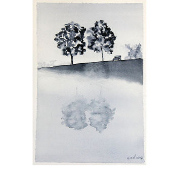 Landscape Black White painting . Handmade Watercolor . Black White color . Trees and lake