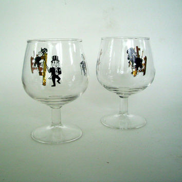 Vintage Brandy Snifter, Man in Top Hat, Retro Barware, Black  & Gold, Mad Men, Home Decor, Mid Century, Retro Glass, Brandy Glass, Set of 2
