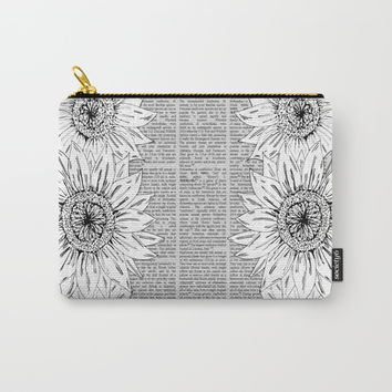 Sunflower Sketch 2 Carry-All Pouch by JustV