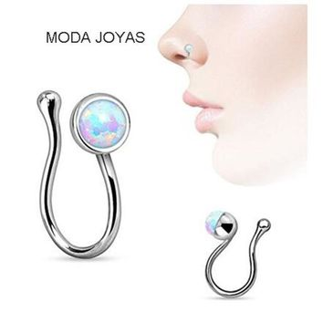 2017 New opal Nose Hoop Nose Rings Body Piercing Jewelry Fake Septum Clicker Non Piercing Hanger Clip On Jewelry