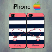 Nautical Infinity Best Friends Blue Coral Stripe by thecasefactory