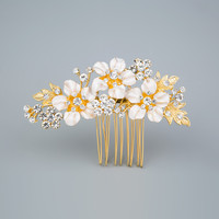 Miallo Wedding Bridal Hair Comb Vintage Bridemaid Prom Crystal Jewelry Combs Gold Silver Plated Flower Pattern Hair Accessories