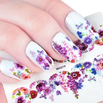 45pcs Nail Sticker Cute Unicorn Flower Colorful Water Transfer Decals Watermark Tattoos Full DIY Decorations Nail Art Set TR191