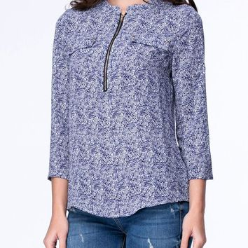 Casual Split Neck Flap Pocket Roll-Up Sleeve Blouse