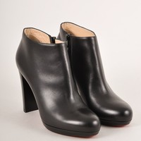 HCXX Black Leather Stacked Heel Booties