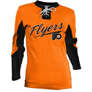 Old Time Hockey Philadelphia Flyers Women's Adina Lace-Up Jersey T-Shirt