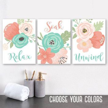 Coral Aqua BATHROOM Wall Art, CANVAS or Prints, Flower Bathroom Decor, Floral Bathroom Quotes Pictures, Relax Soak Unwind, Set of 3 Artwork