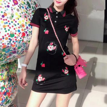 """Gucci"" Women Casual Fashion Dog Head Print Lapel Short Sleeve Polo Shirt Mini Dress"