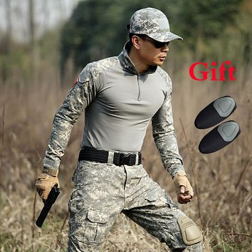 Outdoor Men's Military Combat Shirt Army Camo Long Sleeve Tactical T Shirt Sports Soldiers Men Hunting Paintball Training Shirt