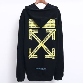 OFF-WHITE autumn and winter tide brand yellow cordon men and women hooded sweater black