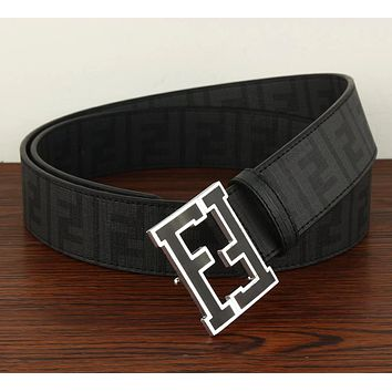 Fendi Trending Hot Sale Women Men F Mark Belt Print Belt B104518-1 Black