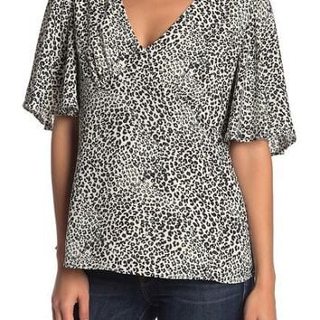Nanette by Nanette Lepore Animal Print Flutter Sleeve Top