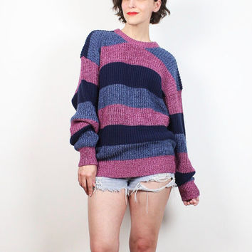Vintage Boyfriend Sweater 1980s Chunky Knit Sweater Dusty Pink Navy Blue Striped Pullover Jumper Cozy Knit Normcore Slouch Ribbed L Large XL