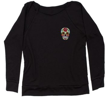 Embroidered White Sugar Skull Patch (Pocket Print) Slouchy Off Shoulder Oversized Sweatshirt