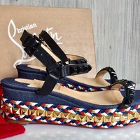 Christian Louboutin studded Cataclou 36 Espadrille Wedge Sandals $895 Free Shp