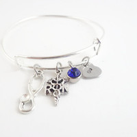 Personalized Initial and Birthstone RN Charm Bracelet, RN Jewelry,Nurse Bracelet,Nurse Jewelry,Nurse Charm Bracelet,RN Gifts,Nurse Gifts