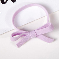 Cute Women Candy Color Elastic Rope Ring Hairband Bow Knot Hair Band Ponytail