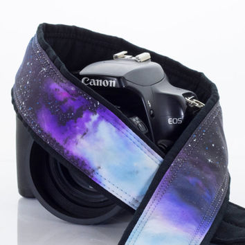 Extra Long Galaxy Camera Strap 16-1, One of a Kind, Hand painted, dSLR, Mirrorless or SLR, Cosmos, Nebula, Space
