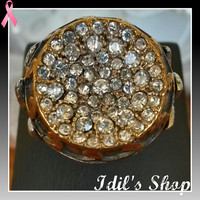 Authentic Turkish Ottoman Style Bronze Ring Encrusted With Zirconia Stones. Ring Number Is 7 In US Size.