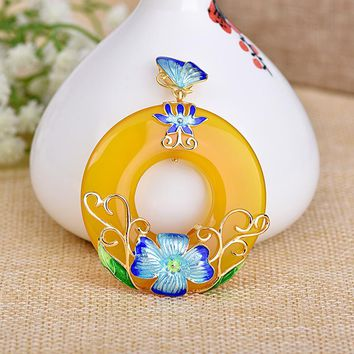 Cloisonne Blue Flower Yellow Natural Chalcedony 925 Circle Pendant