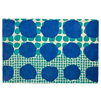 Multi-Dot Blue & Green Rug